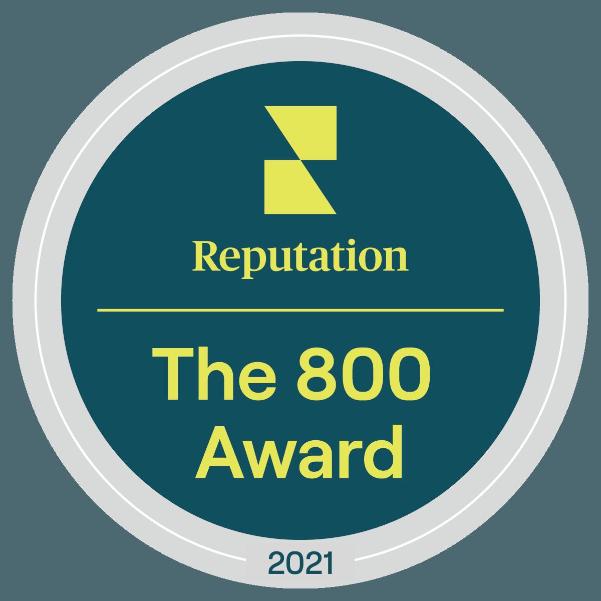 Reputation: The 800 Award. 2021.